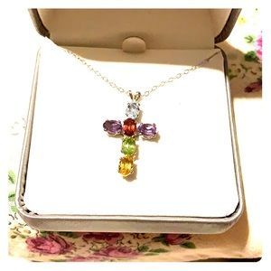Beautiful gemstone cross pendant. New with tag.